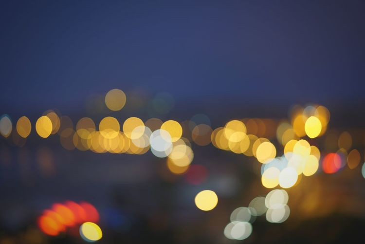 Defocused view of city lights