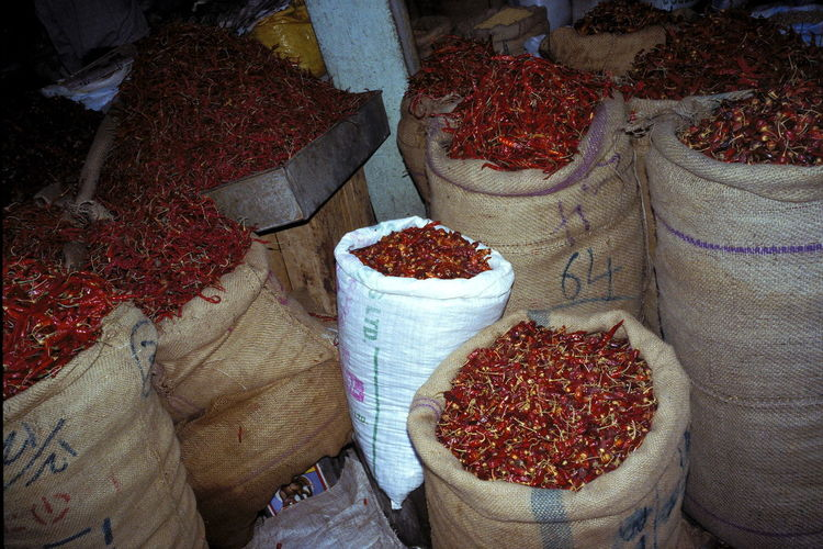 Chilli Pepper Chilli Peppers Choice Day Food Food And Drink For Sale Freshness Goa High Angle View India Market Market Stall No People Red Red Color Red Pepper Red Peppers Sack Spice Spices