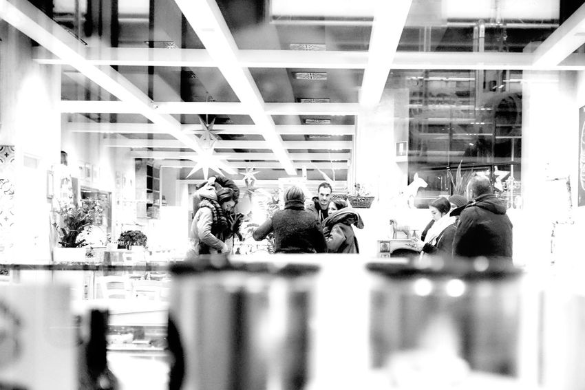 Indoors  Real People People Black & White Black And White Blackandwhite Cafeteria City Life Young Adult Streetphoto_bwUrban Lifestyle Street Photography Streetphotography Reflections Urban Urban Living