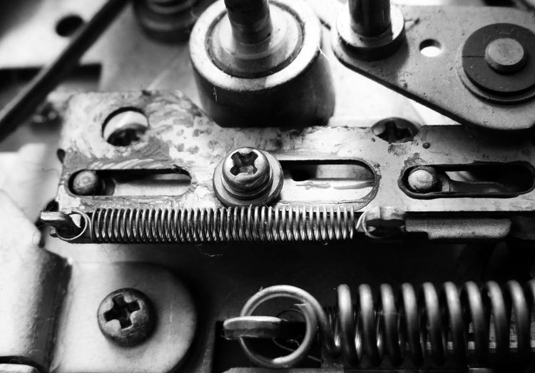 Backgrounds Blackandwhite Photography Close-up Equipment Focus On Foreground Full Frame Machine Machine Part Machinery Macro Photography Man Made Object Mechanics Metal Metallic No People Nostalgia Part Of Retro Styled Selective Focus Shiny Stainless Steel  Still Life VHS Recorder Vintage Technique