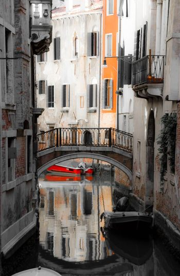 Venice, Italy Canal Channel Street Scene Water Gondola Boat Reflection On Water