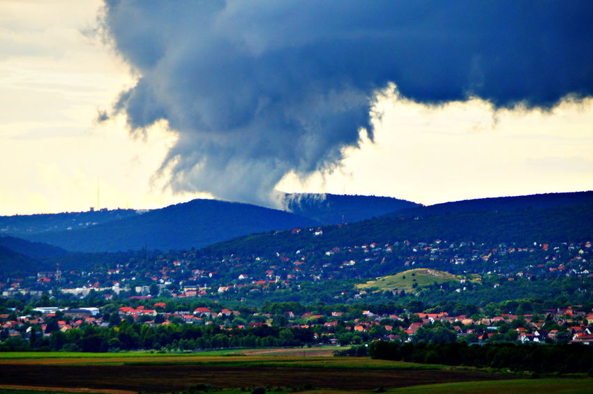 Strange storm approaching to the highest point and strikes down Buda Storm Beauty In Nature Cloud - Sky Day Landscape Mountain Mountain Range Nature No People Outdoors Pilis Pilisszántó Scenics Sky Thunderstorm Tranquil Scene Tranquility Tree