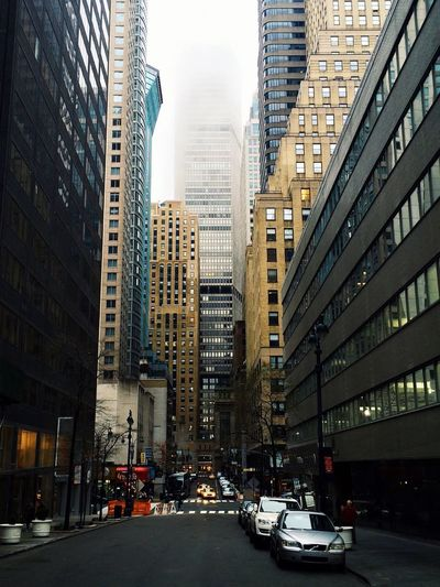 New York City City Streets  Skyscraper In The Fog Cloudy Day In The City Gloomy Architecture