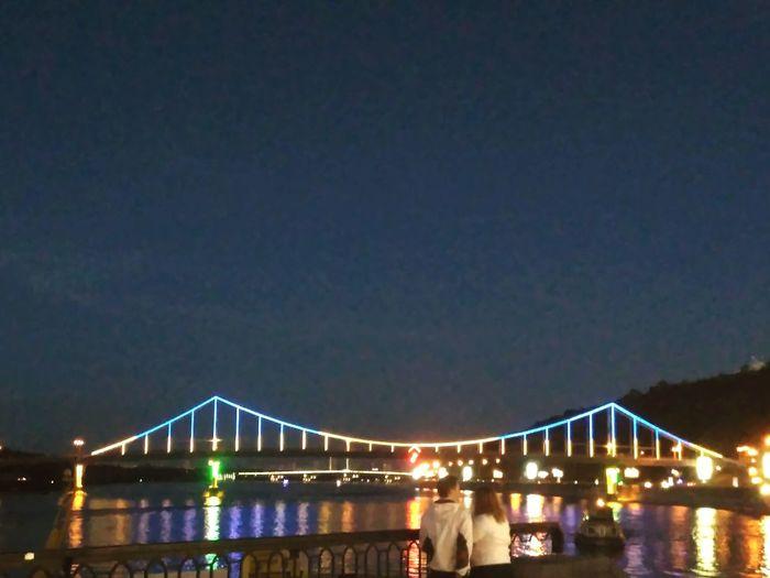Київ, Bridge - Man Made Structure Night River Reflection People Kyiv,Ukraine