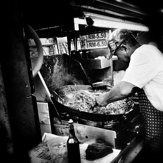 Fried Kuey Teow Busy Food Hawkerfood Hawker Foodstall Hawker Life Nightmarket Foodphotography Photography Cultures Street Streetphotography People Night Black And White Photography