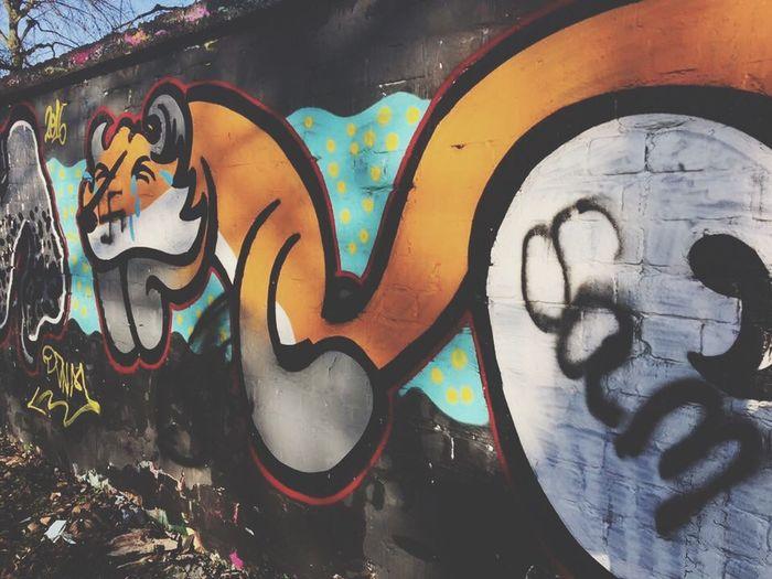 Multi Colored Creativity Outdoors Day Nature Art ArtWork Graffiti Design Fox Painting