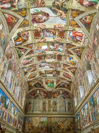 Ceiling Architecture Art Low Angle View Italy Architecture VaticanCity Michaelangelo