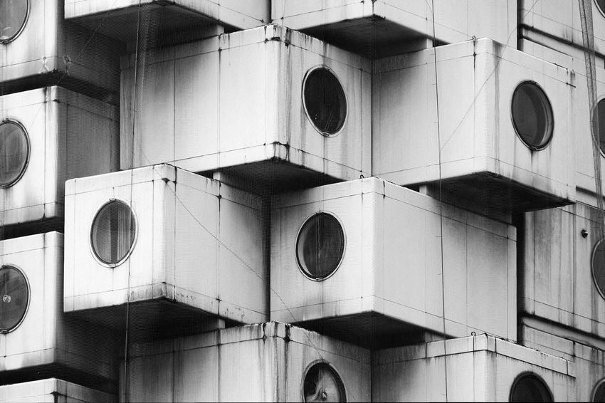 Nakagin Capsule Tower Architecture Blackandwhite Building Exterior Built Structure Exterior Façade Geometric Shape Metabolism Nakagin Capsule Tower No People Outdoors Repetition Monochrome Photography Beautifully Organized