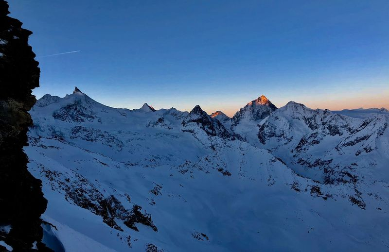 Matterhorn  Obergabelhorn Dent Blanche Zinalrothorn Sunrise Swiss Mountains Swiss Alps Valais Val D'Anniviers Mountain Sky Beauty In Nature Snow Winter Mountain Peak Outdoors Go Higher