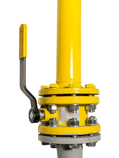 Yellow gas valve on gas pipe shot on white Connection Equipment Flange Gas Pipes Gas Valve Industry No People Plumbing Service Studio Shot Valve White Background Yellow