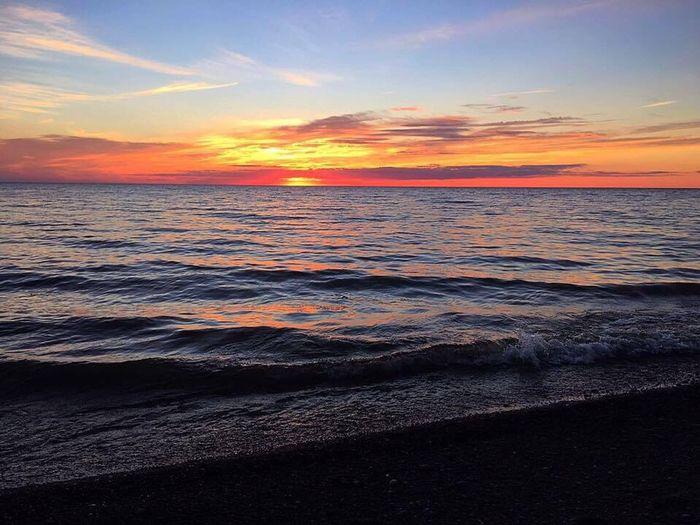 Lake Ontario, New York Sunset Beach Outdoors Beauty In Nature Nature Dramatic Sky Scenics Horizon Over Water Landscape First Eyeem Photo