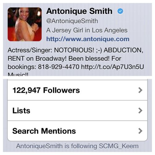 Antonique Smith the Famous actress and Broadway's leading lady follows me and supports my movement she was one of the first to buy my single of iTunes and will be at the three reasons video shoot in NYC if she's in town
