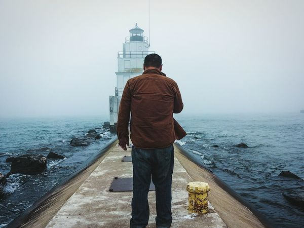 Reverse Selfie Lighthouse Exploring Great Lakes Lake Michigan Wanderer Notes From The Underground Lone Walker Untold Stories TwentySomething RePicture Masculinity My Best Photo 2015 EyeEm Selects