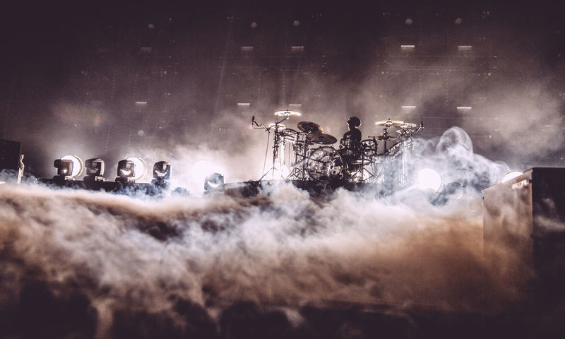 Arts Culture And Entertainment Atmosphere Atmospheric Band Concert Concert Photography Crowd Drumkit Drummer Drums Event Illuminated Light Show Lights Music Musician Musicians On Stage Smoke
