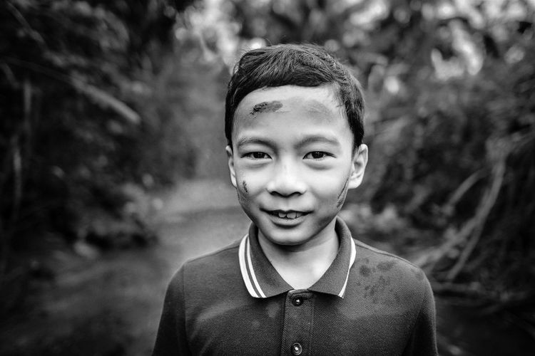 Little Mud Face Childhood Close-up Cute Happiness Headshot Looking At Camera One Boy Only Outdoors Portrait Smiling The Portraitist - 2017 EyeEm Awards