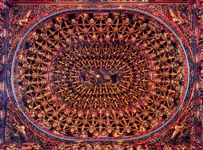 Backgrounds Close-up Day Indoors  Intricate Wood Carvings No People Pattern Roof Of Temple