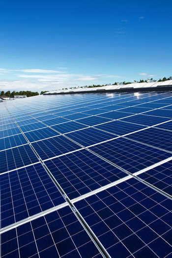 Renewable Energy Alternative Energy Solar Energy Fuel And Power Generation Solar Panel Sky Environmental Conservation Environment Technology Sun Blue Roof Solar Power Station Nature Architecture Electricity  Sunlight Outdoors Day Power Supply Blue Sky Große Pv-Anlage Many Large Copyspace