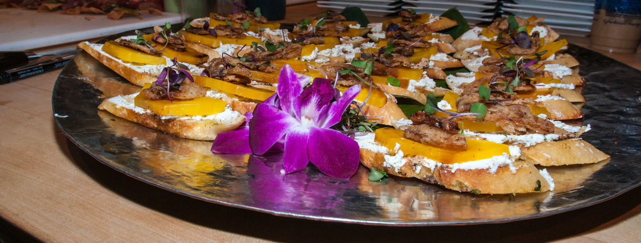 Surfside Cuisine Food Food And Drink Freshness Ready-to-eat Plate Indoors  Still Life Close-up Table No People Vegetable Indulgence Healthy Eating Serving Size Wellbeing High Angle View Onion Appetizer SLICE Tray Temptation Garnish Purple Snack