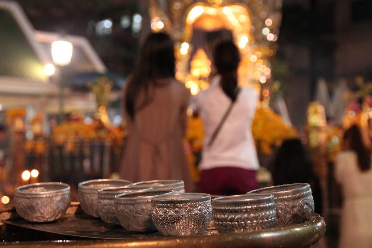Silver pots at erawan shrine
