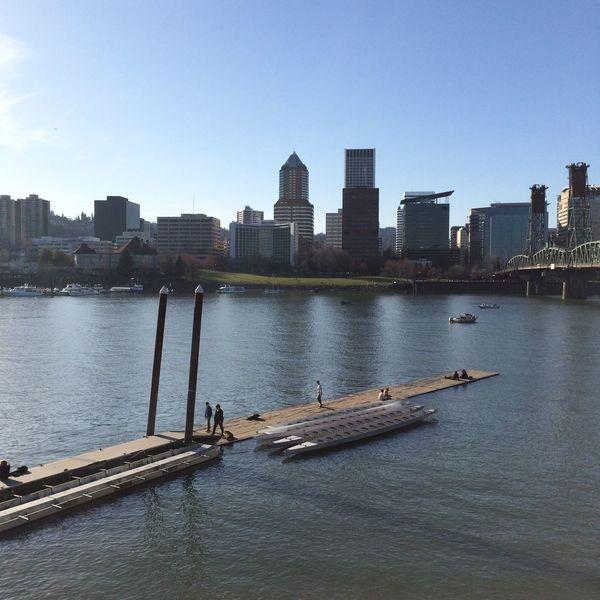 City Portland Oregon Cityscapes Willamette River  Sunny Day Eye4photography