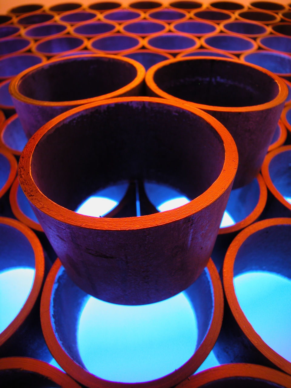 in a row, no people, arrangement, indoors, blue, earthenware, day, close-up