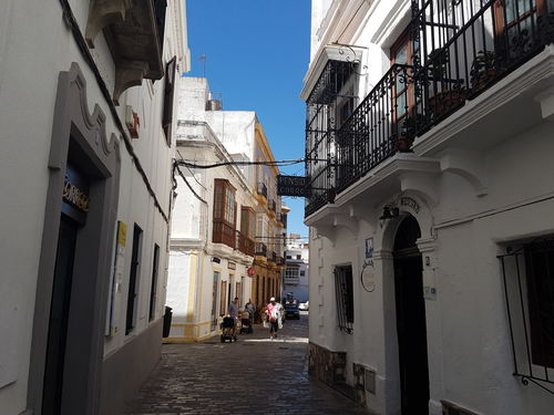 Architecture The Way Forward Street City Narrow Clear Sky Day City Life Between Tarifa Spain Tarifa Old Town Sunny Narrowstreet Andalusia