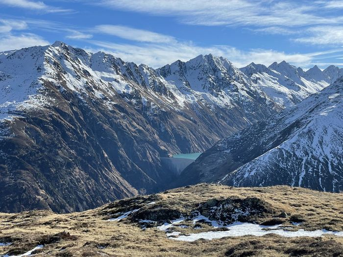 Scenic view of snowcapped mountains against sky in swiss alps