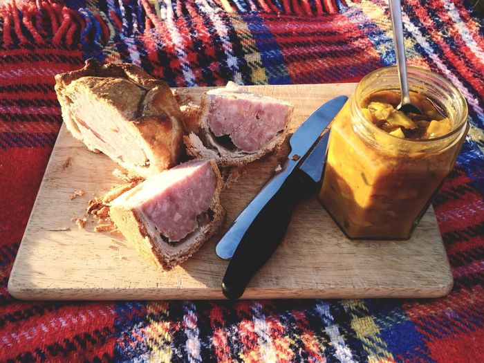 Pork pie with picalilli. Northumberland, England. Photo by Tom Bland. Food And Drink Food Meat Ready-to-eat Tasty Delicious IPhoneography IPhone Eating Pork Pie Pickle British Picnic British Food Traditional Blanket Pies Meat Pie Picalilli Lunch Outdoors Quaint