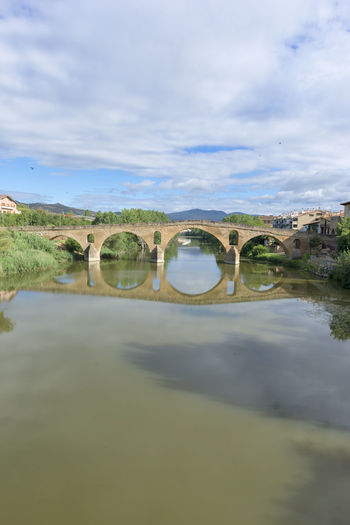 Arch Architecture Beauty In Nature Bridge - Man Made Structure Built Structure Camino De Santiago Cloud - Sky Connection Day Nature Navarra No People Outdoors Puente La Reina Reflection Scenics Sky Tranquility Water