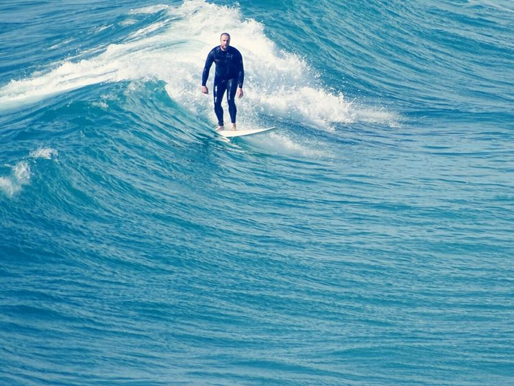Vintage surf. Leisure Activity Sea Adventure Real People Surfing Wave One Person Extreme Sports Lifestyles Day Sport High Angle View Motion Enjoyment Aquatic Sport Nature Vacations Fun Outdoors Water Waves The Great Outdoors - 2017 EyeEm Awards Live For The Story Breathing Space