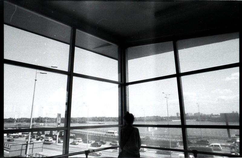 Rear view of woman looking through window at airport