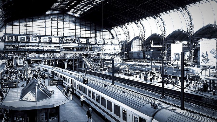 Central Rail Way Station Hamburg Germany Black And White Photography Trainstation Trains