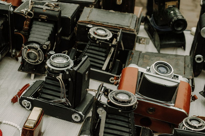 High angle view of cameras