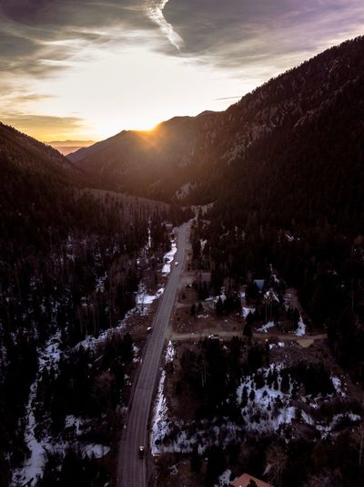 Winter sunsets New Mexico Landscape_Collection Unreal Beautiful Destinations Beauty In Nature Nature Beauty In Nature Sky Mountain Scenics Tranquility Shades Of Winter Outdoors Tranquil Scene Landscape Sunset Winding Road Mountain Range Tree Day No People Road