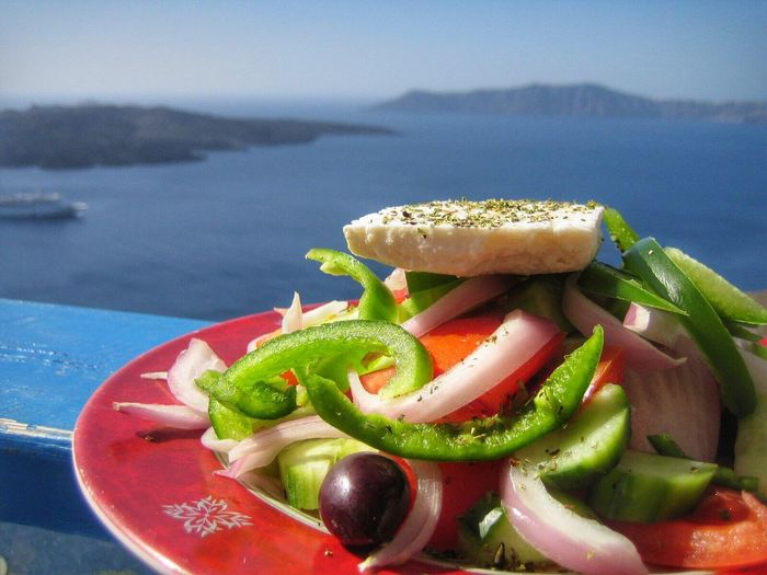 Food And Drink Food Freshness Healthy Eating Ready-to-eat Close-up Water Sea Day Indoors  Nature Sky Salad Boat Ship Cruise Ship Griechischer Salat Salat Feta Ferien *-*  Holiday Ferien