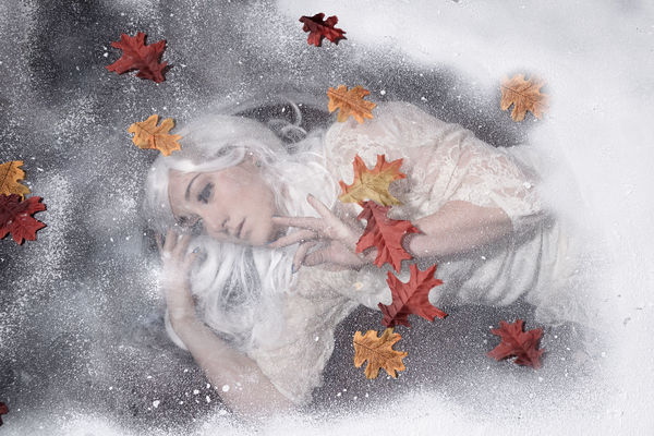 wonderland Young Woman Winter Snow Portrait Flower Studio Shot Red Christmas Close-up