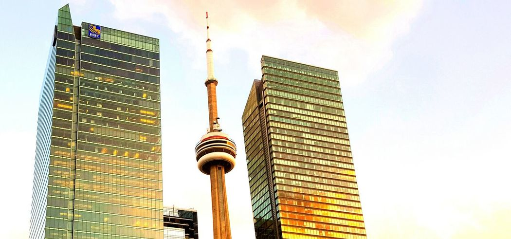 CN Tower Canadian Landmarks RBC Buildings Sunset Warm Light Cropped Lookingup Toronto Ontario Canada Canada Coast To Coast