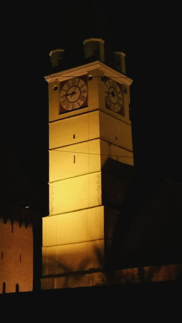 clock, no people, architecture, built structure, indoors, clock tower, illuminated, night, time, clock face, close-up