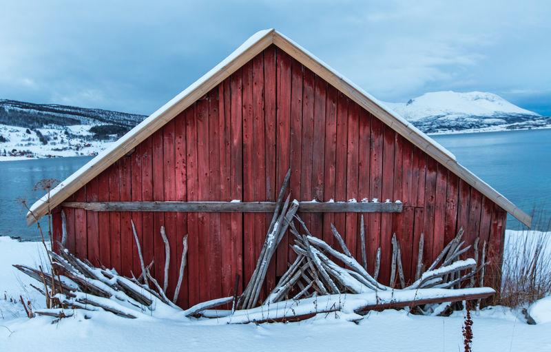 Lofoten Islands Norway Red Barn Built Structure Cold Temperature Day Frozen Harstad Lofoten Nature Outdoors Snow Winter Wood - Material