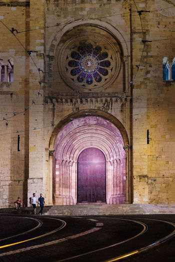 Church Nighttime Portugal Architecture Built Structure Day Imposing Indoors  Lisbon Nightlife No People Place Of Worship Purple Religion Stone Buildings Tram Lines
