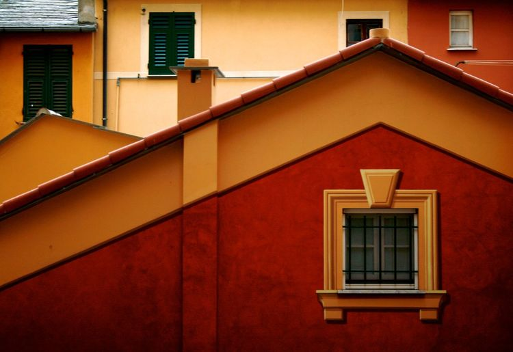 Flat urban composition City Roof Architecture Building Building Exterior Built Structure Close-up Day Flat House No People Outdoors Residential Building Sky Tiled Roof  Urban Window