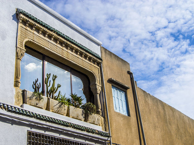 Nabeul Window Plants Tunisia Architecture Building Exterior Built Structure Cloud - Sky Day Low Angle View Nabeul No People Outdoors Sky Tunisie Window