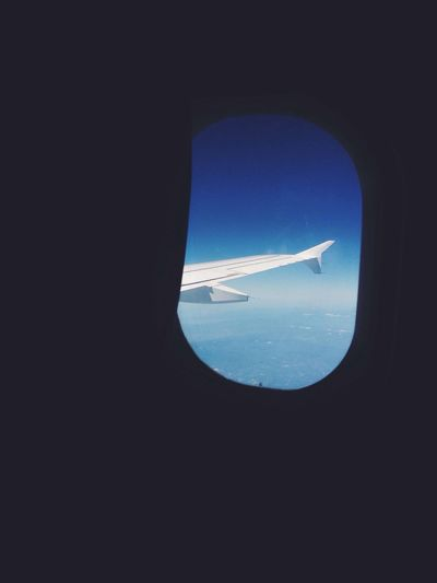 Silhouette airplane wing seen through window