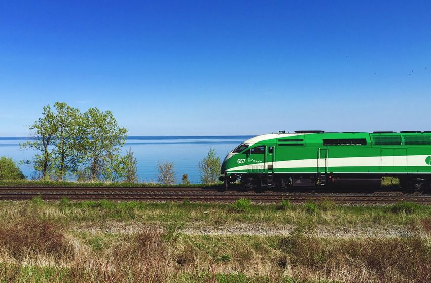Go Train heads east toward Rouge Hill Station along the Lake Ontario Waterfront Trail - IPhoneography