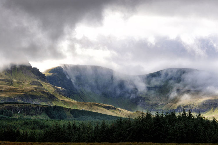 Low cloud on the Trotternish Ridge, Isle of Skye Highlands Scotland Highlands And Islands Scotland Skye Cloud - Sky Environment Forest Highlands Highlands Of Scotland Isle Of Skye Landscape Mountain Mountain Range No People Non-urban Scene Scenics - Nature Sky Tranquil Scene Tranquility Tree