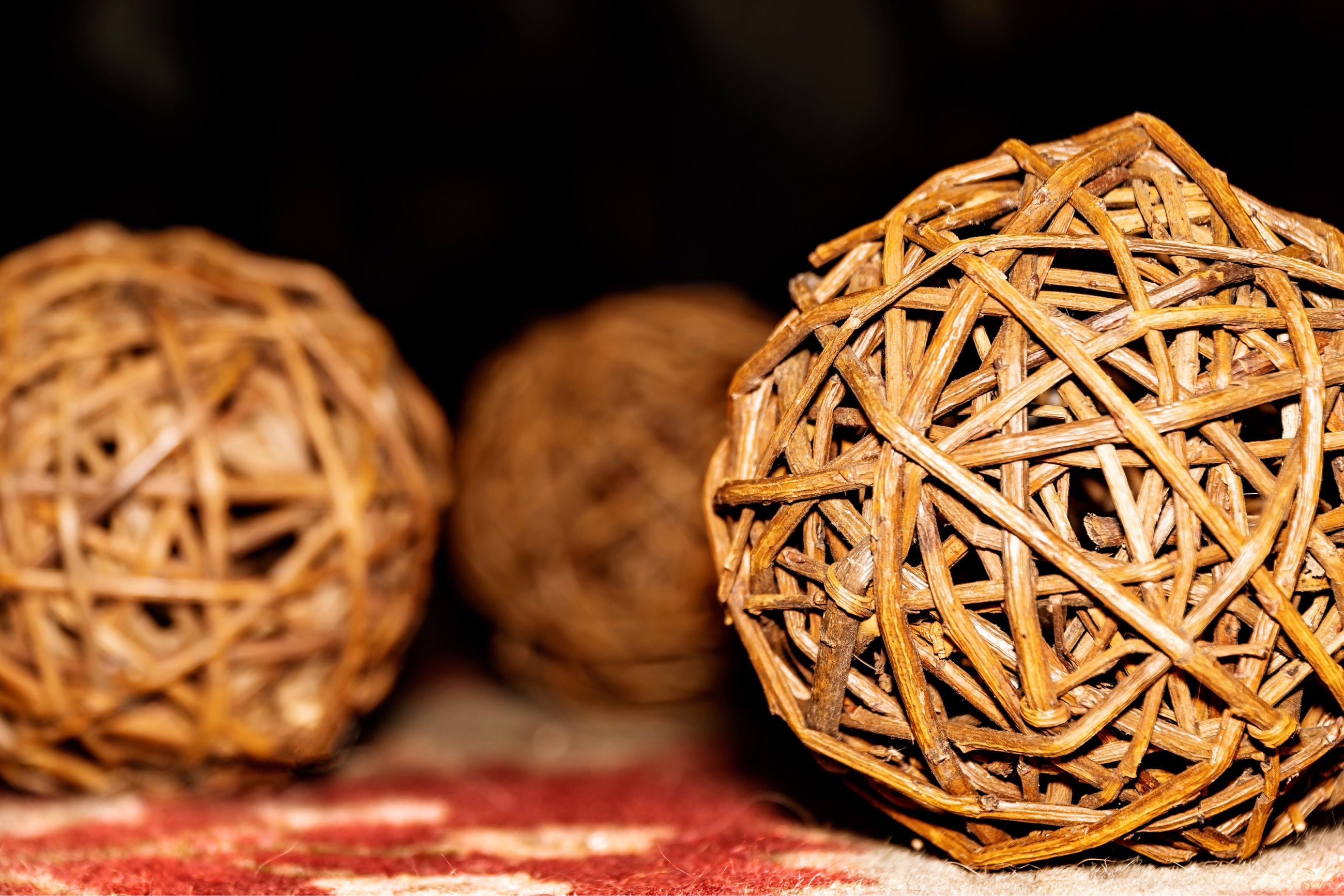 still life, close-up, indoors, focus on foreground, no people, sphere, pattern, craft, art and craft, table, container, brown, basket, food, wicker, food and drink, creativity, wood - material, freshness, ball