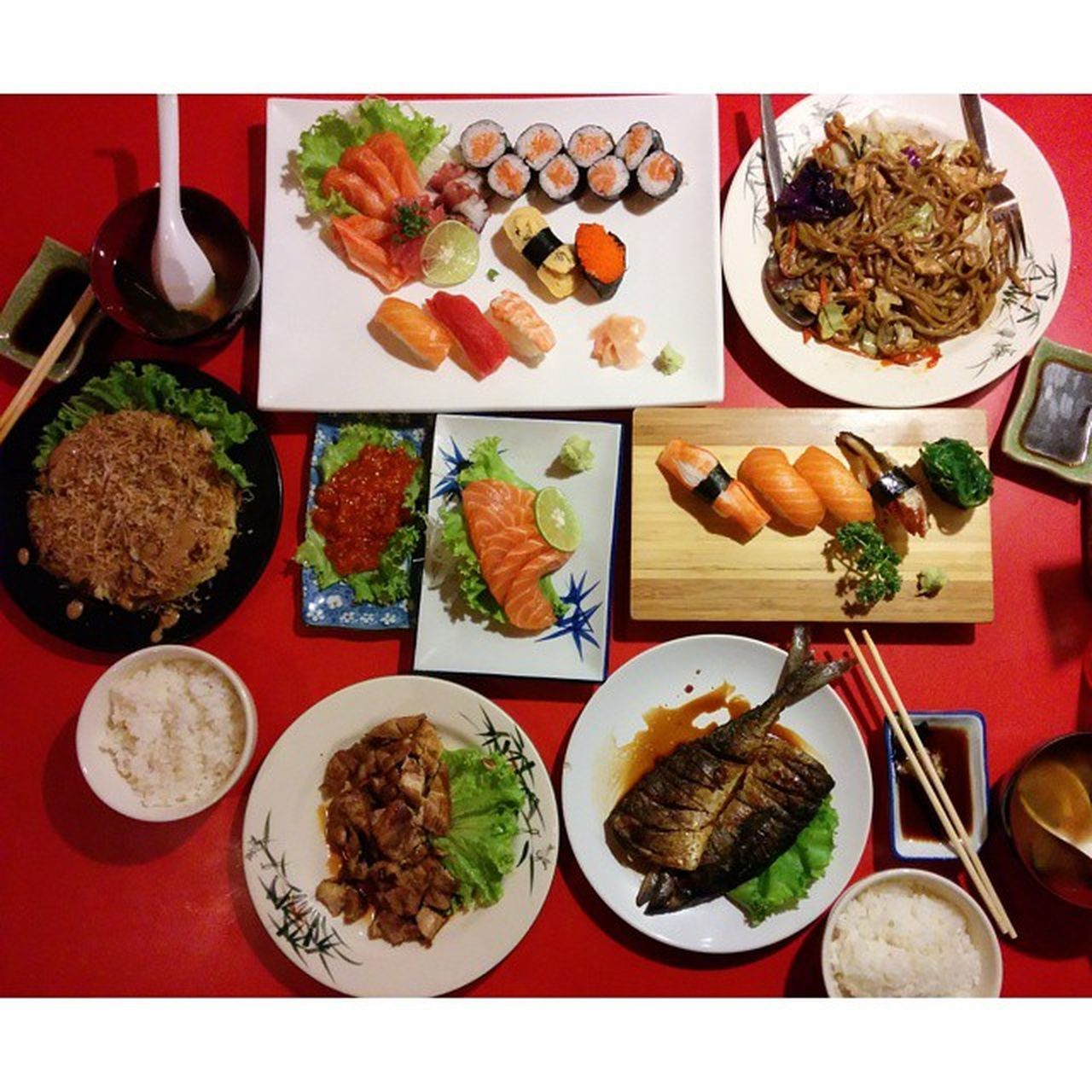 food and drink, food, seafood, freshness, plate, healthy eating, variation, chopsticks, ready-to-eat, japanese food, sushi, table, no people, fish, high angle view, directly above, bowl, indoors, meat, meal, close-up, day