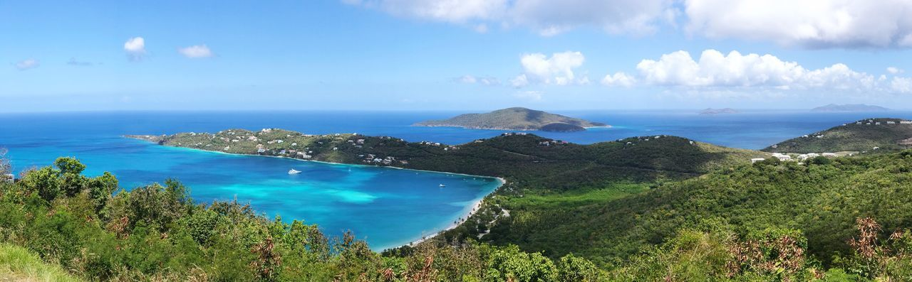 Magen's Bay in St.Thomas, USVI. Sea Tranquil Scene Tranquility Mountain Cloud - Sky Landscape Magens Bay St. Thomas Usvi Tropical Tropical Paradise Saint Thomas Vacation Vacation Destination Paradise Panorama