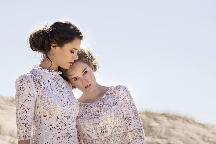 Beauty Bridal Couple Editorial Fashion Edwardian Fashion Photography Lace Love Sand Softness Togetherness Vintage Wedding Dress Young Women