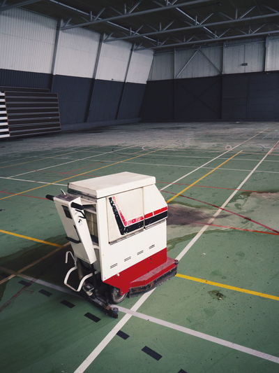 High Angle View Of Cleaning Machine On Floor